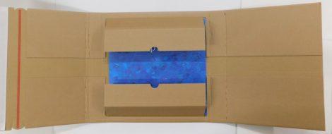 LP / 12inch szállítókarton élvédővel 1-20 db. lemezhez ragasztócsíkokkal és feltépőszalaggal